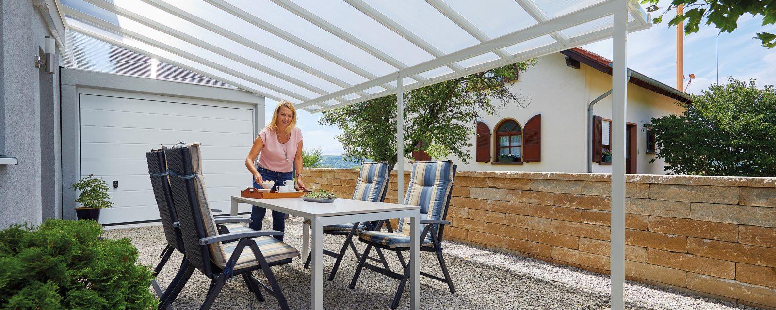 Terrassendach 5,46 x 4,06 m weiß